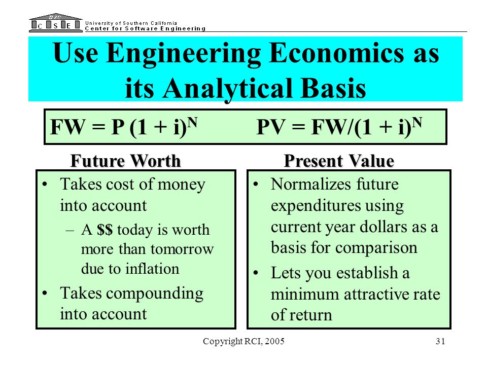 Use Engineering Economics as its Analytical Basis