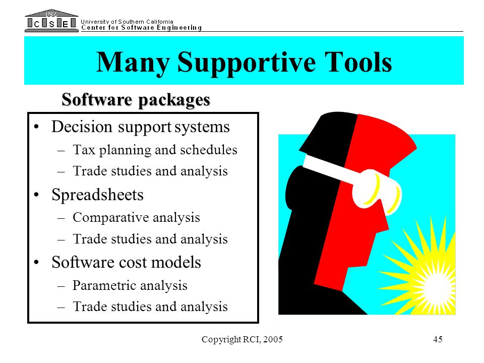 Many Supportive Tools Software packages Decision support systems