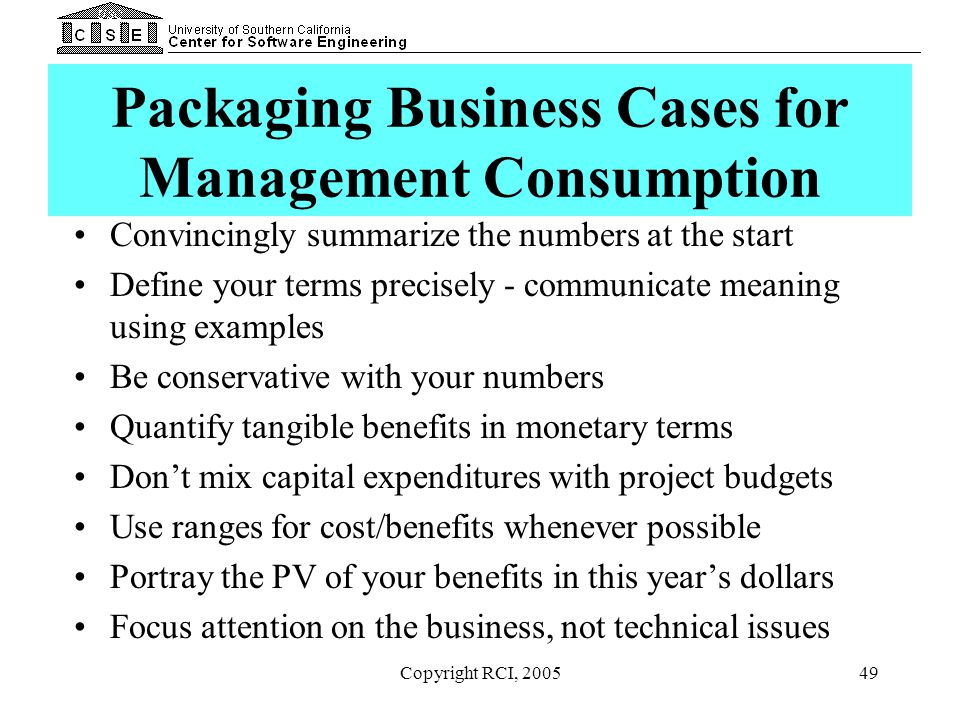Packaging Business Cases for Management Consumption