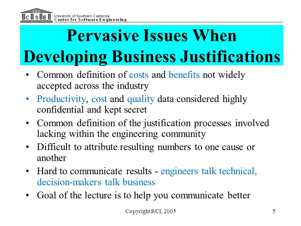 Pervasive Issues When Developing Business Justifications