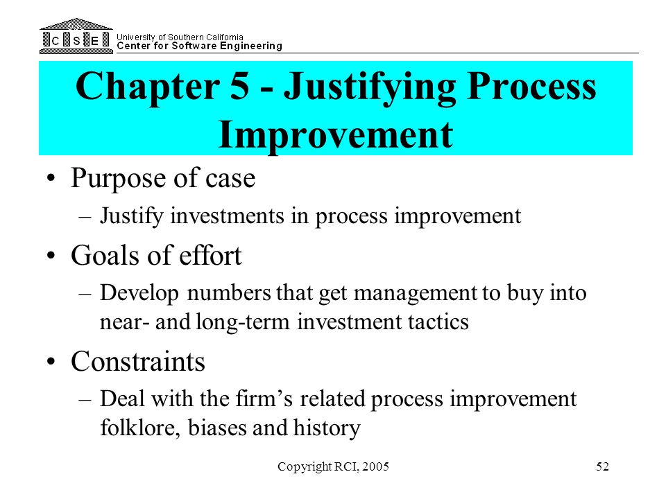 Chapter 5 - Justifying Process Improvement