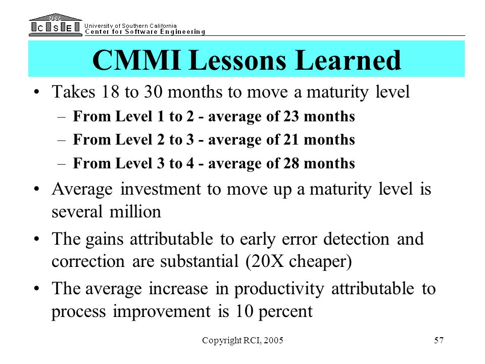 CMMI Lessons Learned Takes 18 to 30 months to move a maturity level