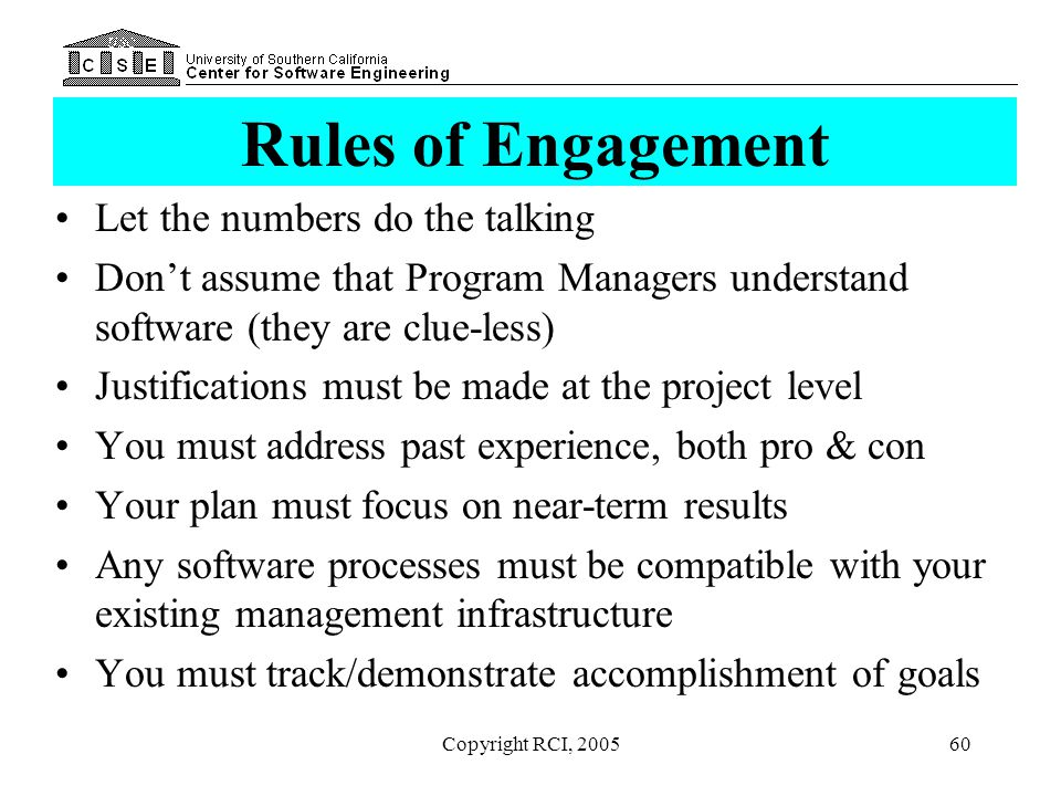 Rules of Engagement Let the numbers do the talking