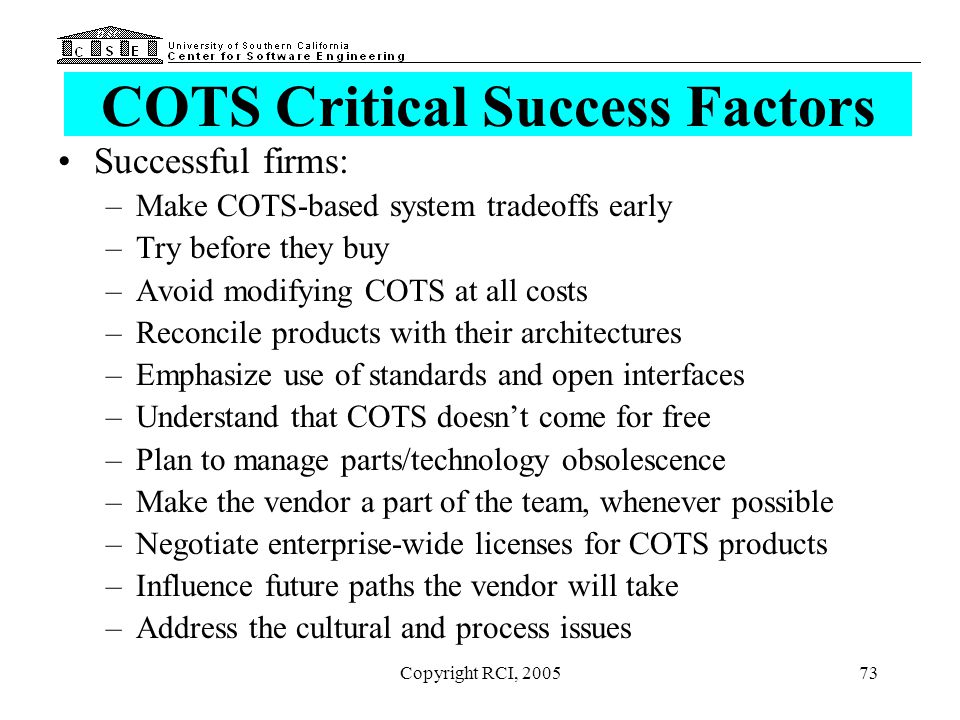 COTS Critical Success Factors