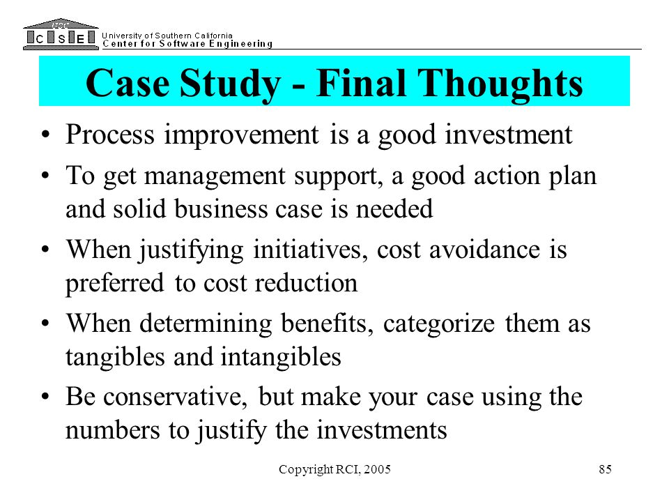 Case Study - Final Thoughts