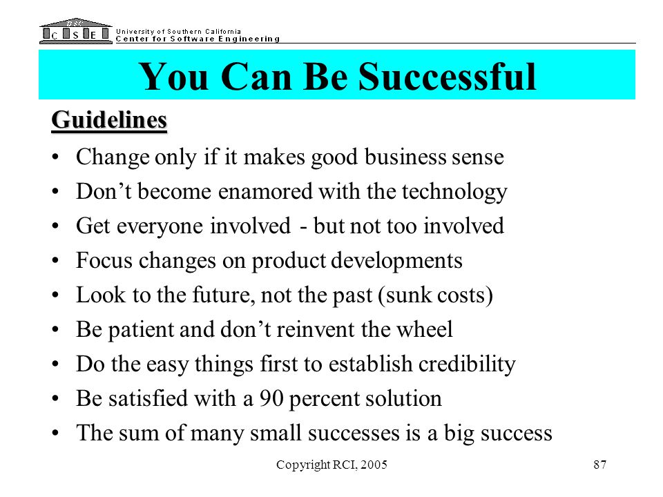 You Can Be Successful Guidelines