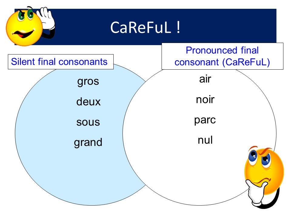 Pronounced final consonant (CaReFuL)