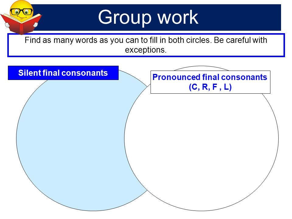 Silent final consonants Pronounced final consonants