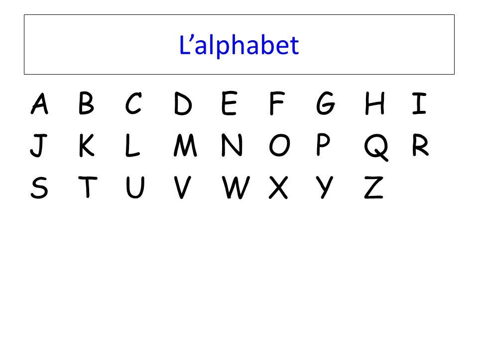 L'alphabet A B C D E F G H I J K L M N O P Q R S T U V W X Y Z