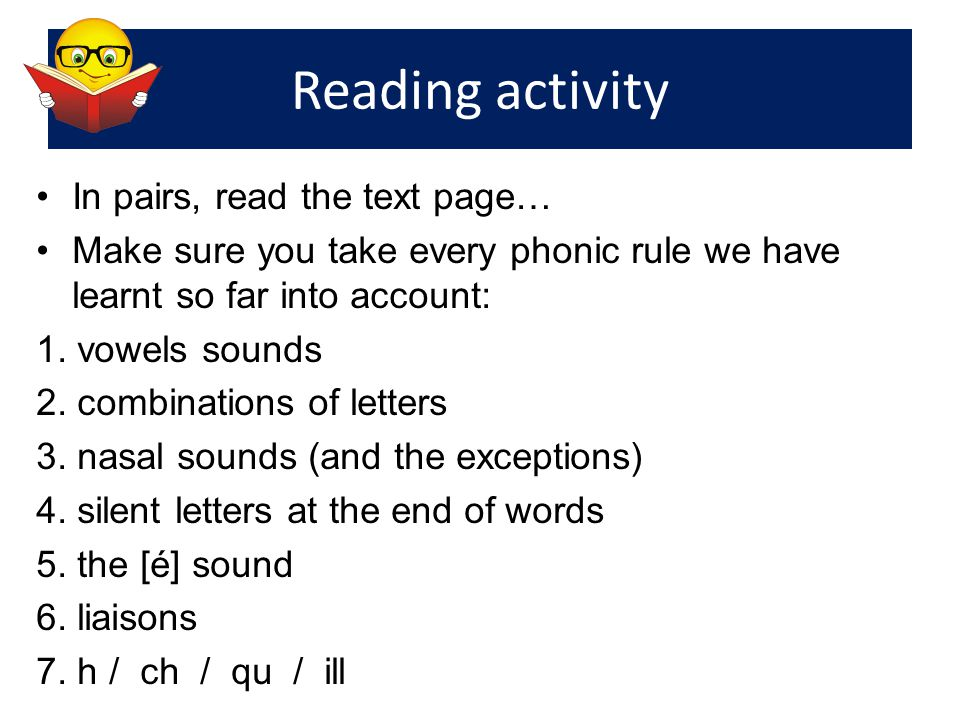 Reading activity In pairs, read the text page…