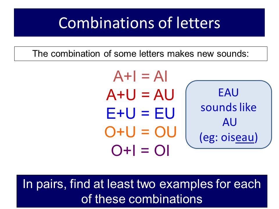Combinations of letters
