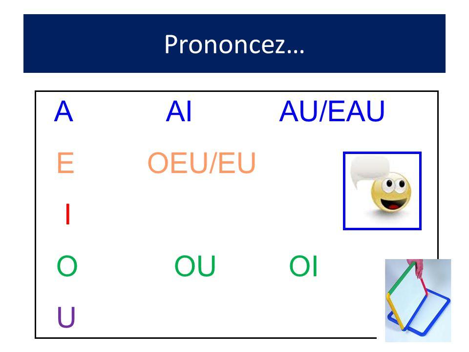 Prononcez… A AI AU/EAU E OEU/EU I O OU OI U