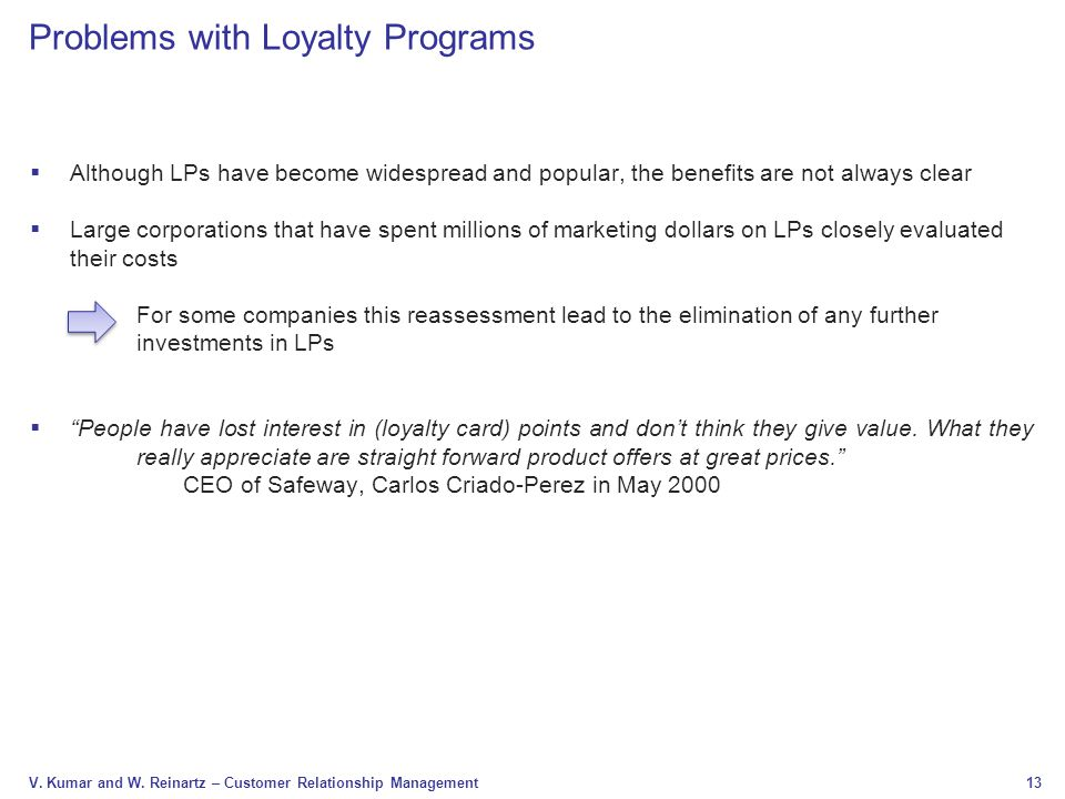 Problems with Loyalty Programs