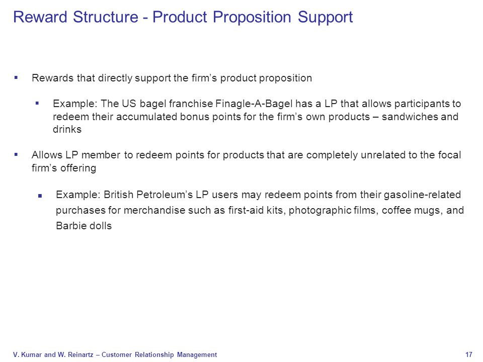 Reward Structure - Product Proposition Support