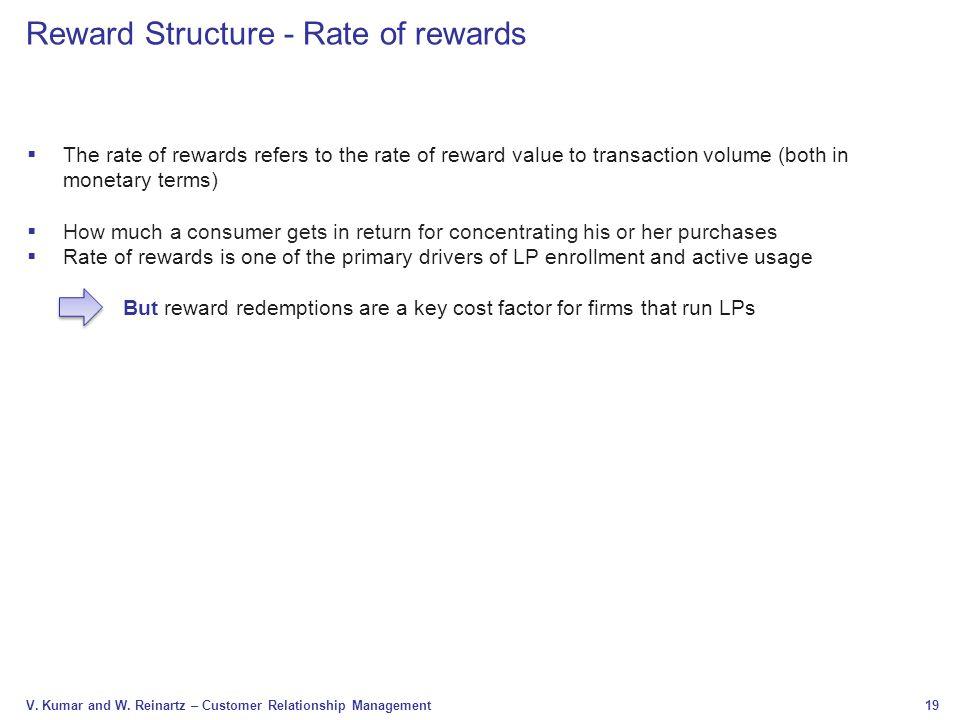 Reward Structure - Rate of rewards