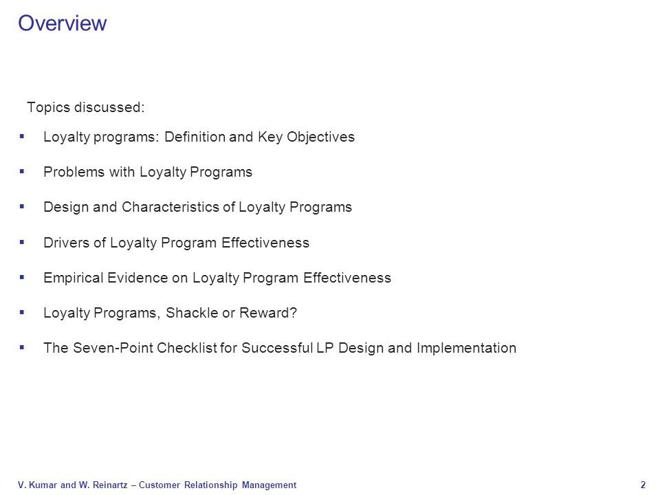 Overview Topics discussed: