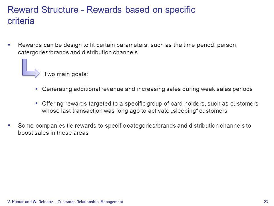 Reward Structure - Rewards based on specific criteria