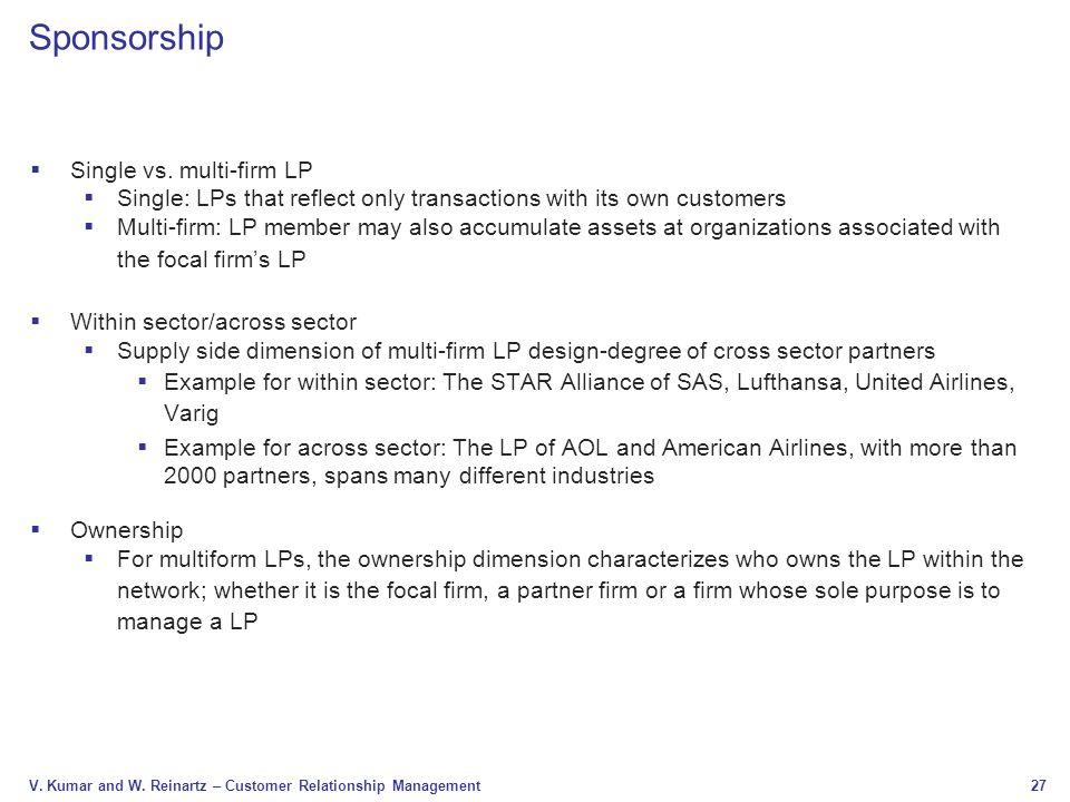 Sponsorship Single vs. multi-firm LP