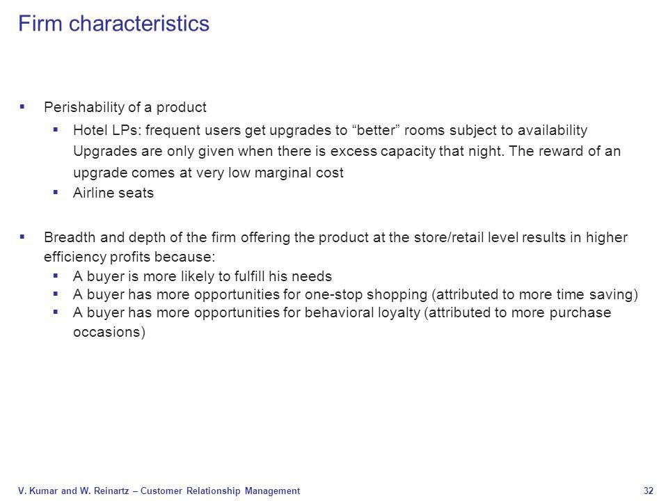 Firm characteristics Perishability of a product