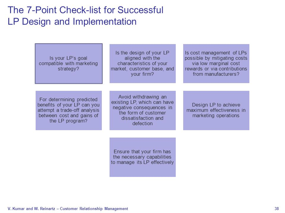 The 7-Point Check-list for Successful LP Design and Implementation