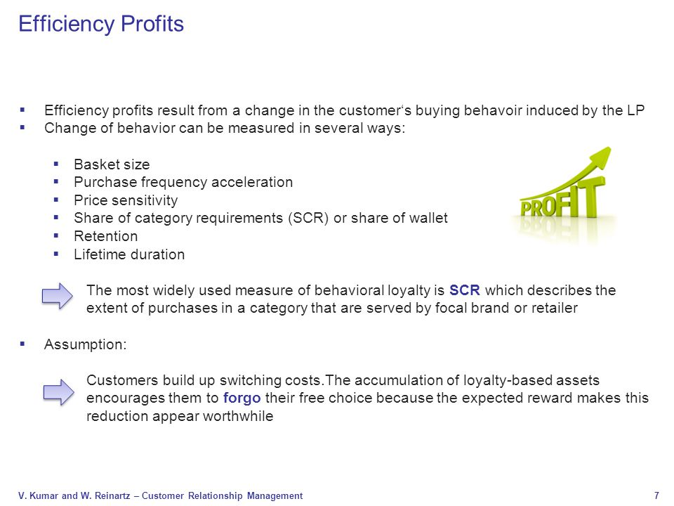 Efficiency Profits Efficiency profits result from a change in the customer's buying behavoir induced by the LP.