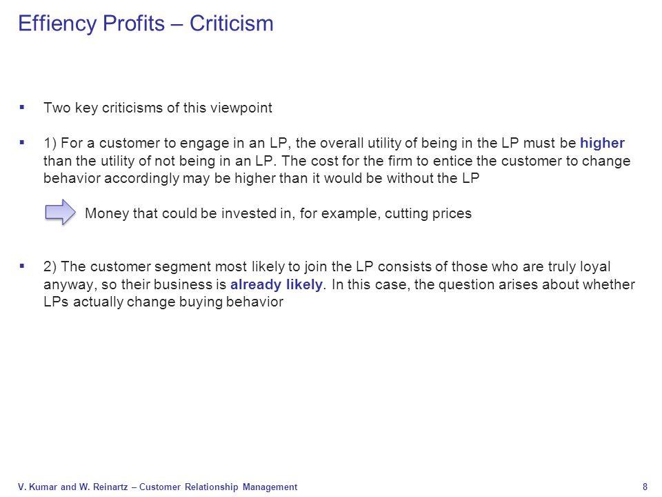 Effiency Profits – Criticism