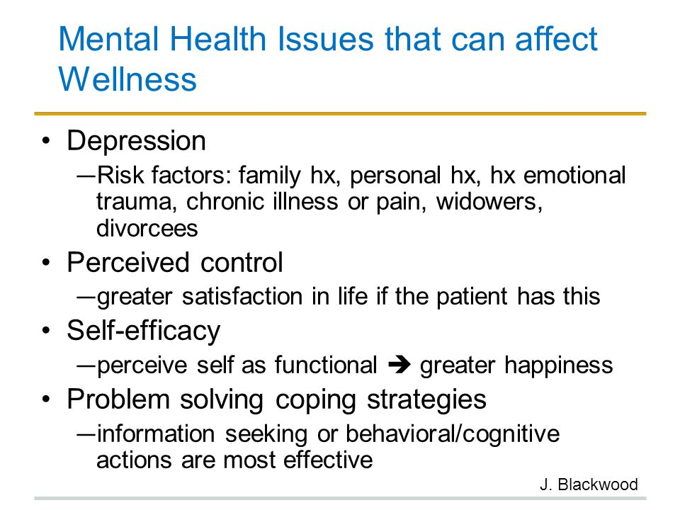 Mental Health Issues that can affect Wellness