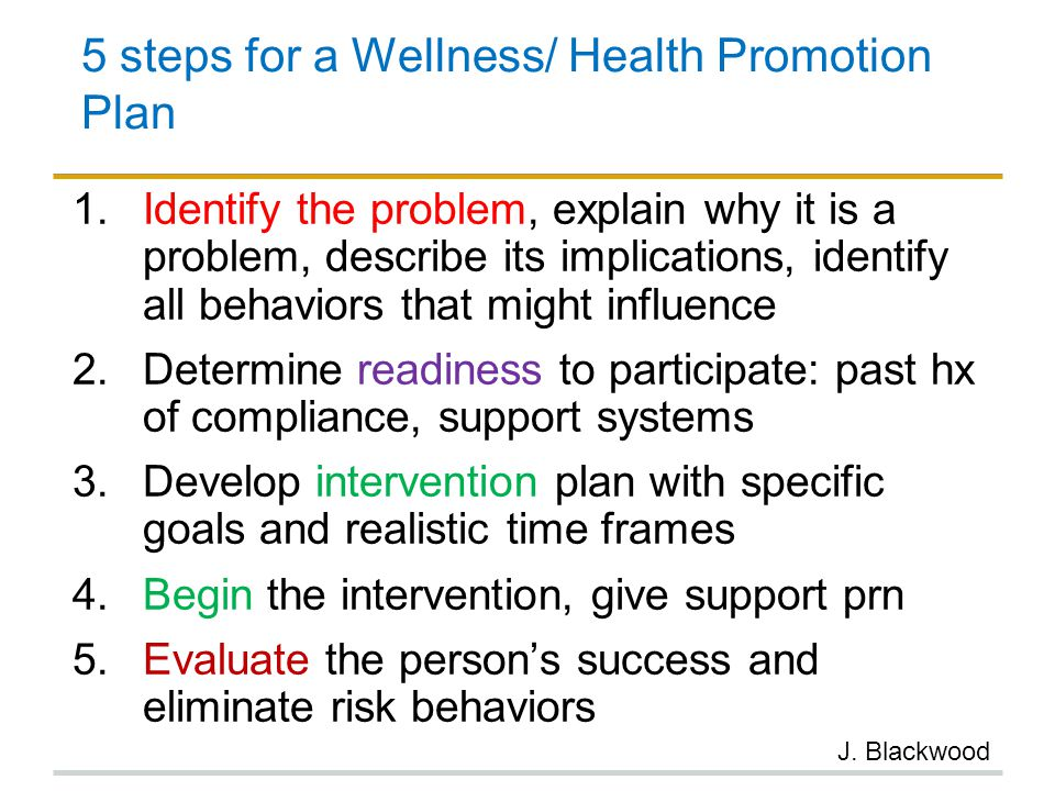 5 steps for a Wellness/ Health Promotion Plan