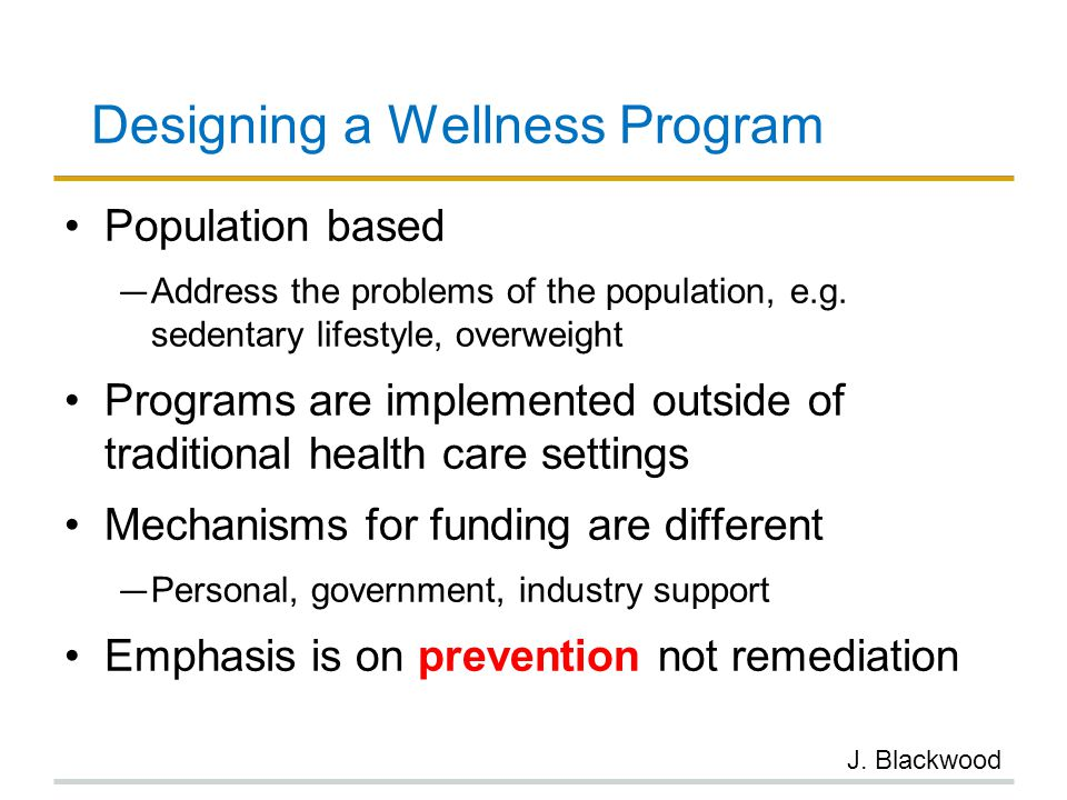 Designing a Wellness Program