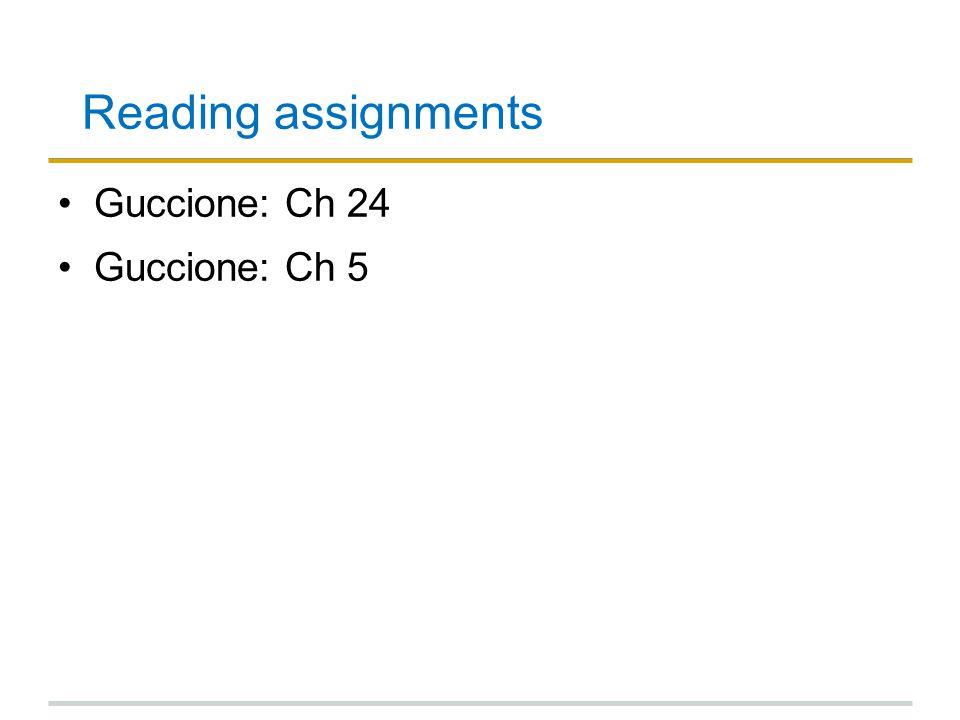 Reading assignments Guccione: Ch 24 Guccione: Ch 5
