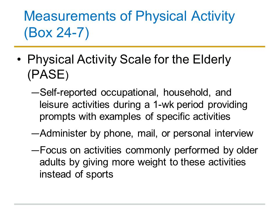 Measurements of Physical Activity (Box 24-7)
