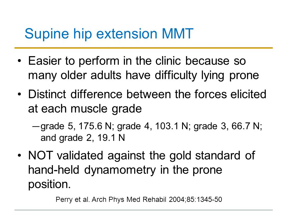 Supine hip extension MMT