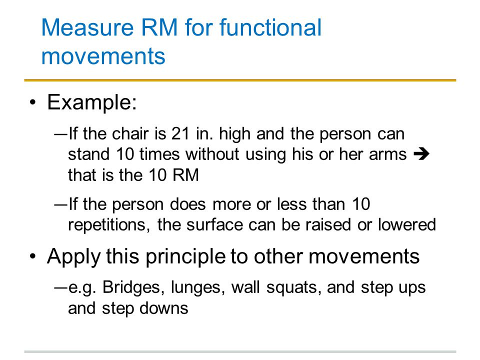 Measure RM for functional movements