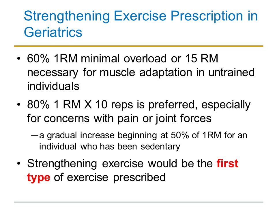 Strengthening Exercise Prescription in Geriatrics