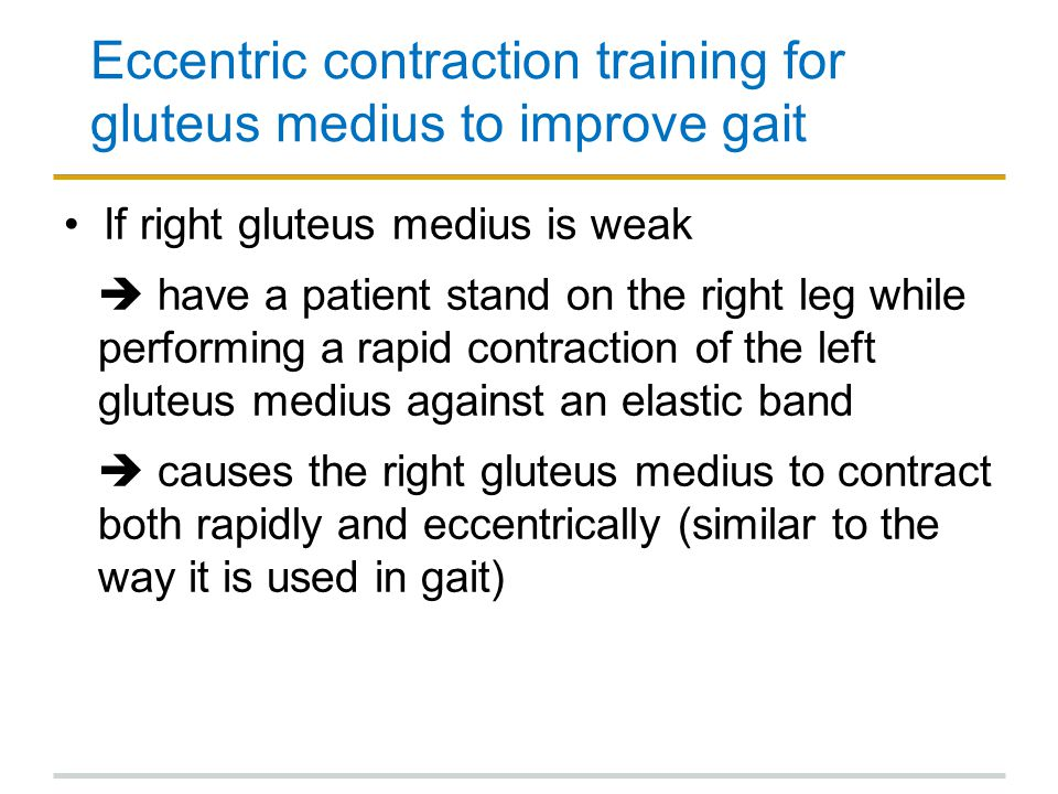 Eccentric contraction training for gluteus medius to improve gait