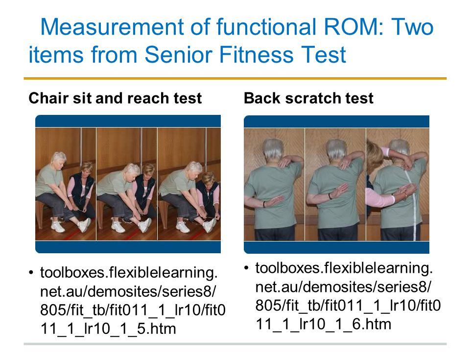 Measurement of functional ROM: Two items from Senior Fitness Test