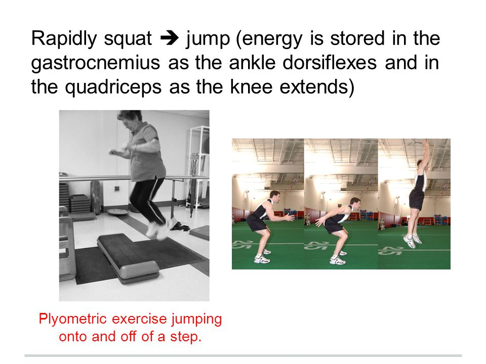 Plyometric exercise jumping onto and off of a step.