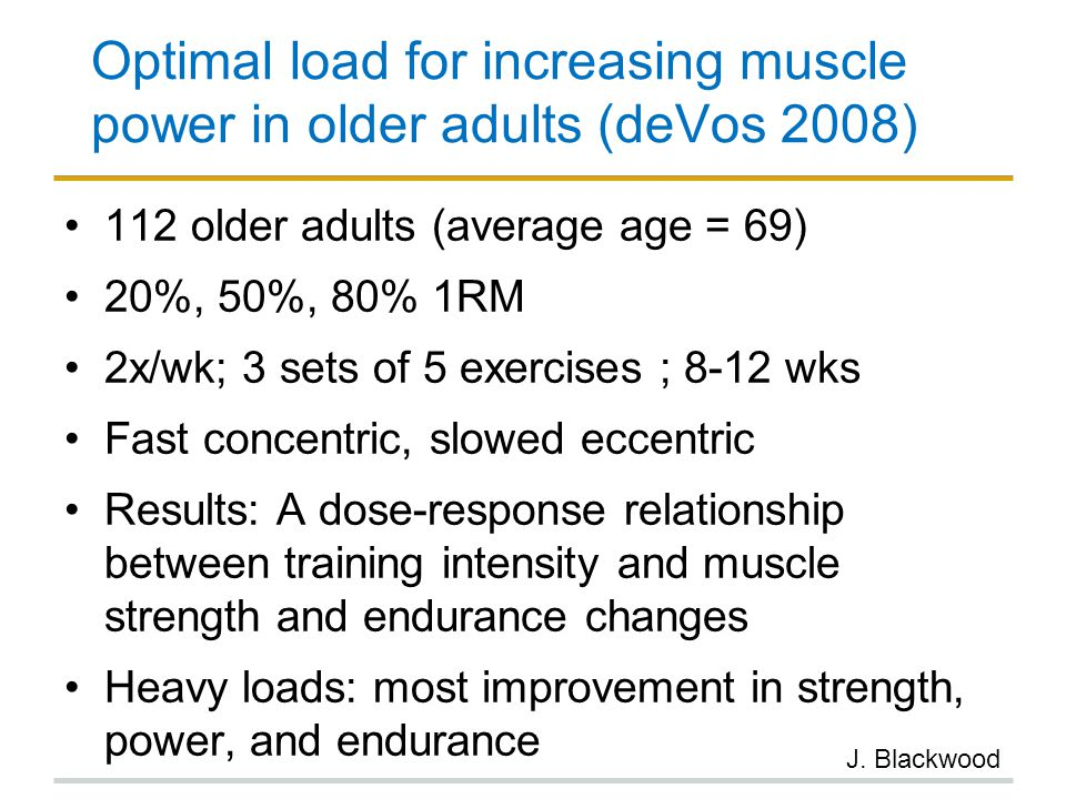 Optimal load for increasing muscle power in older adults (deVos 2008)