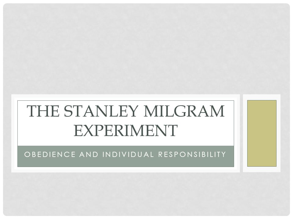 stanley milgram essay In the early 1960's, yale university psychologist stanley milgram published the perils of obedience, in which he reported.