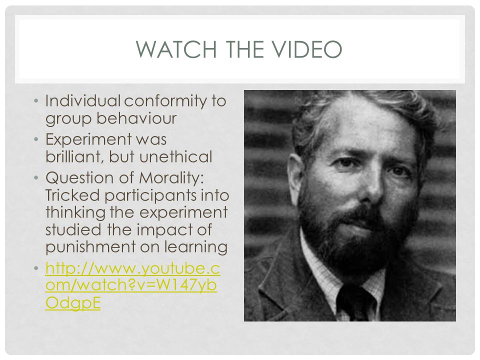 Watch the video Individual conformity to group behaviour