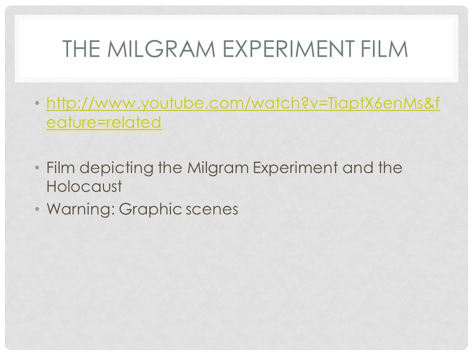 The Milgram Experiment Film