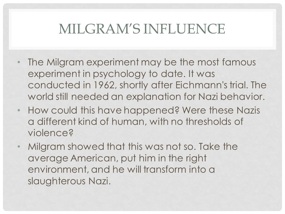 Milgram's Influence