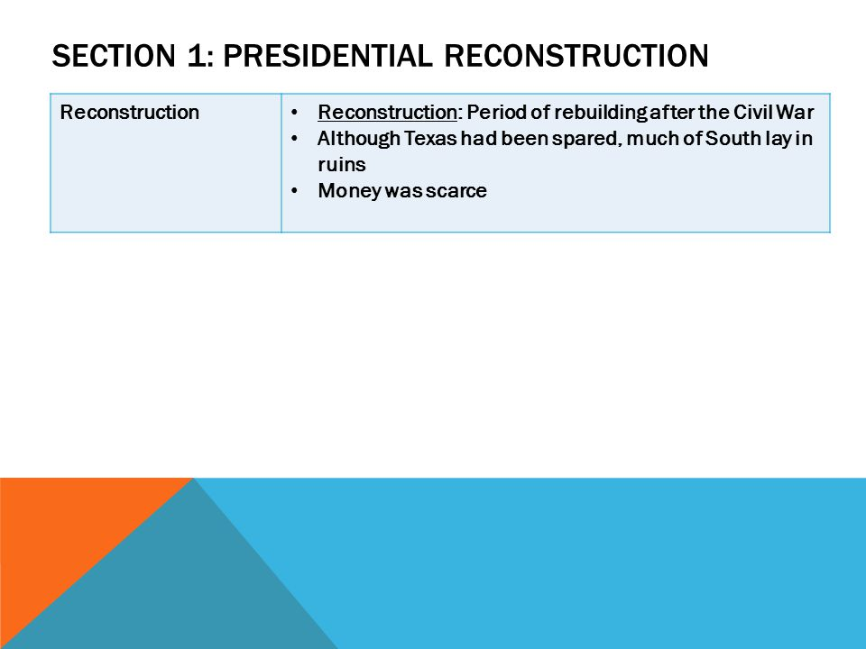 Section 1: Presidential Reconstruction