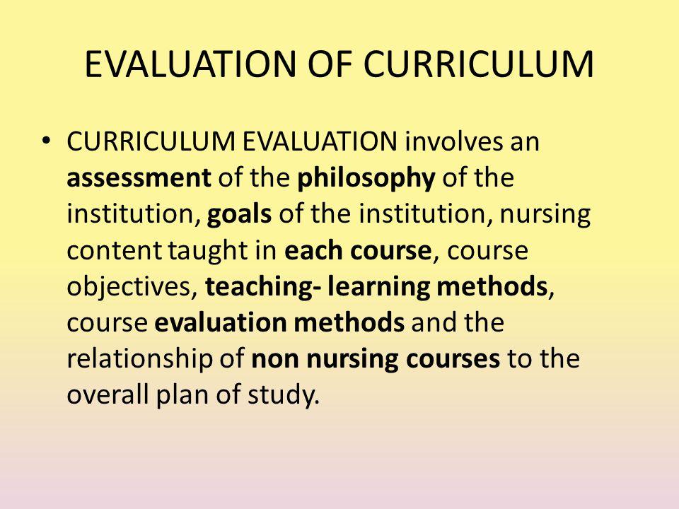 EVALUATION OF CURRICULUM