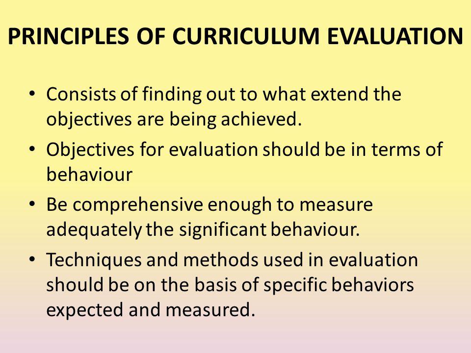 PRINCIPLES OF CURRICULUM EVALUATION