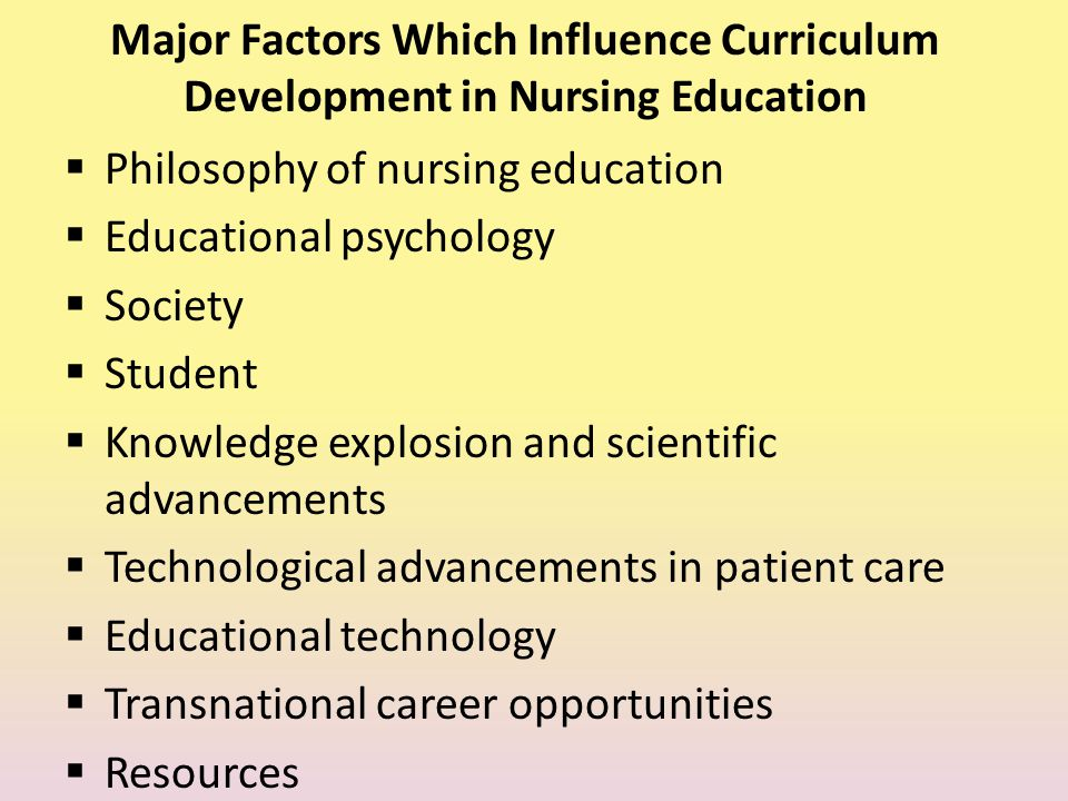 FACTORS THAT INFLUENCE CURRICULUM CHANGE