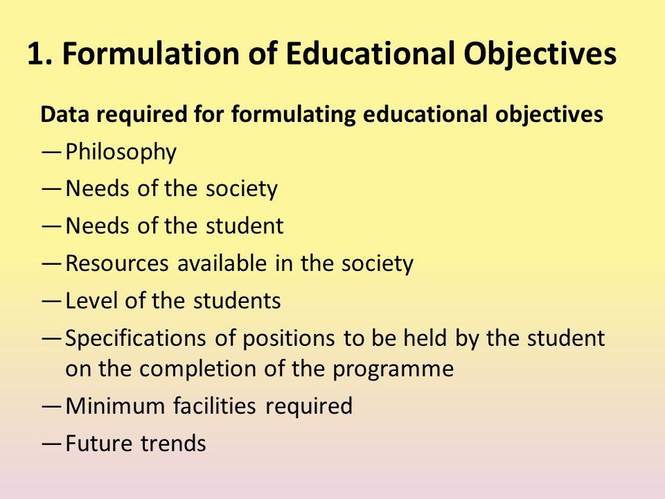 1. Formulation of Educational Objectives