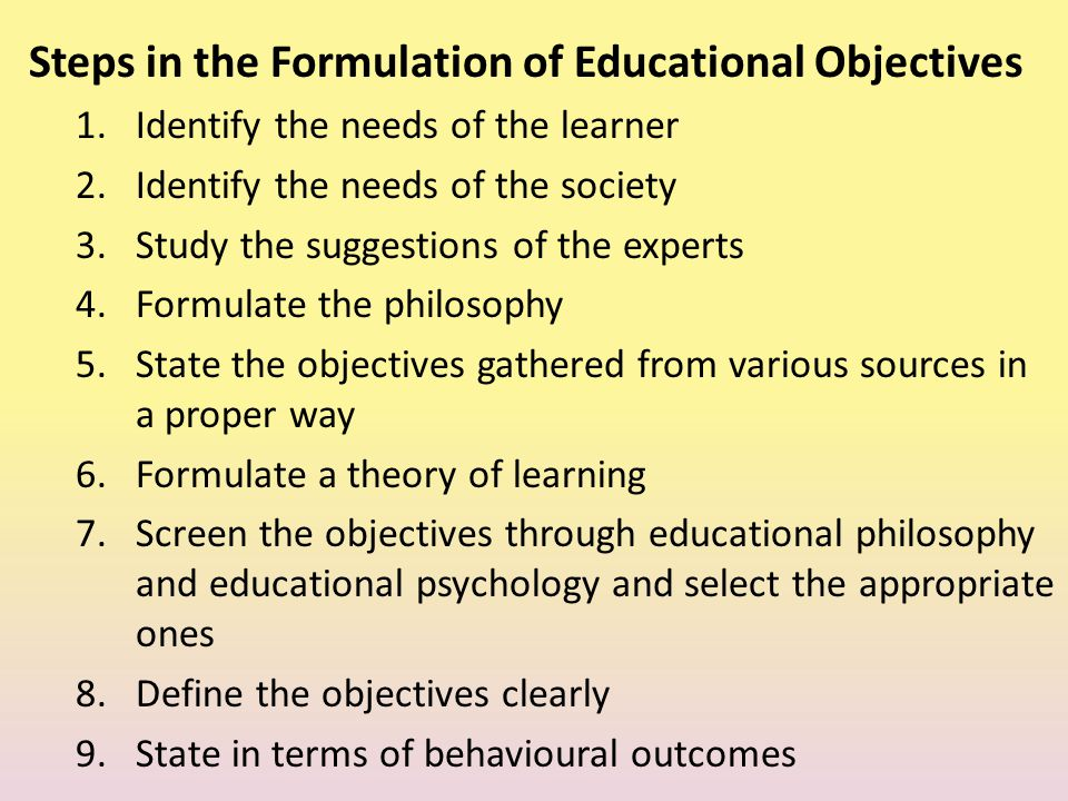 Steps in the Formulation of Educational Objectives