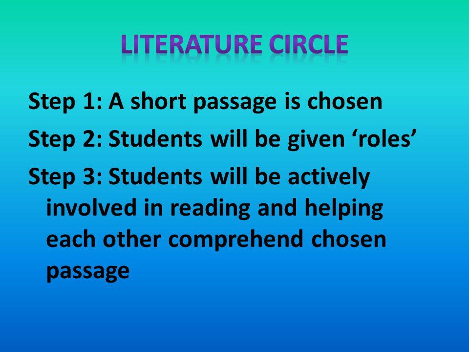 Literature Circle Step 1: A short passage is chosen