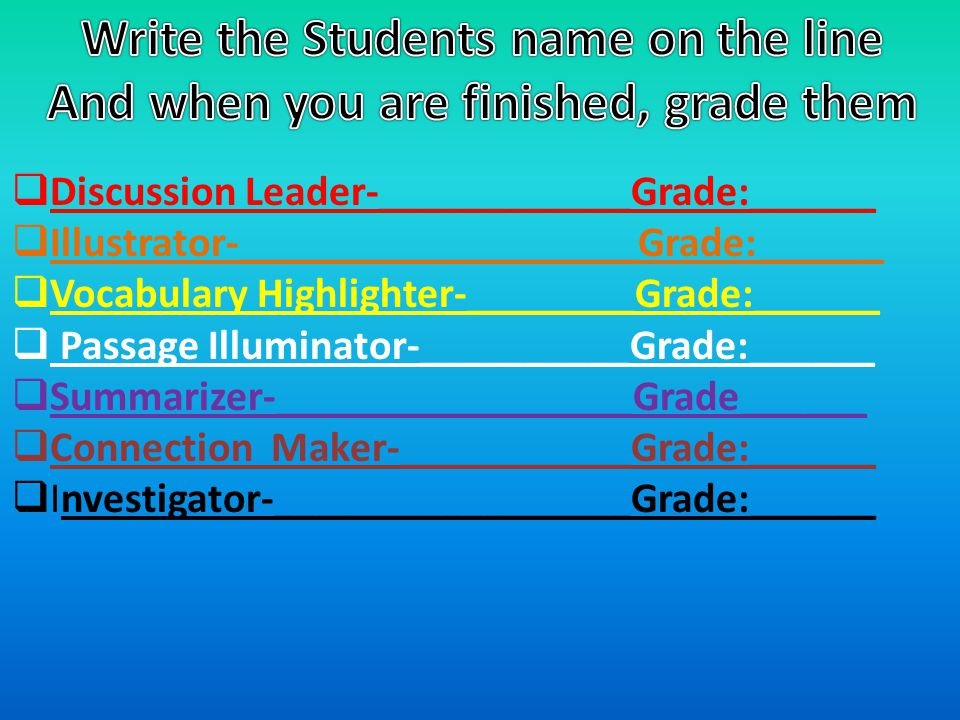 Write the Students name on the line